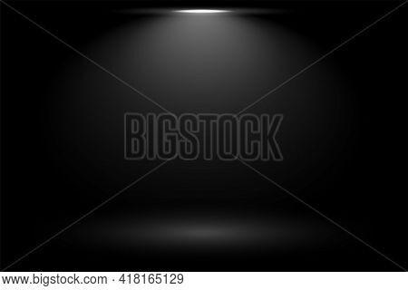 Black Background With Focus Spot Light Vector Template Design