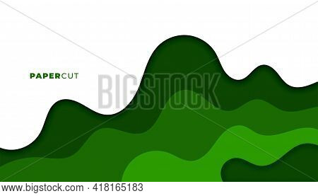 Abstract Green Papercut Style Background Vector Template Design