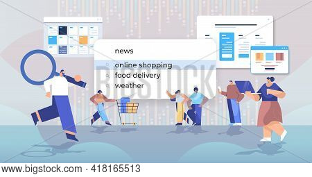 Mix Race People Customers Choosing Online Shopping In Search Bar On Virtual Screen Internet Networki