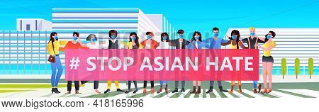 Stop Asian Hate Mix Race Activists With Banners Protesting Against Racism Support People During Coro