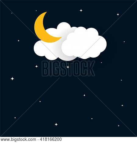 Flat Papercut Style Moon Stars And Clouds Background