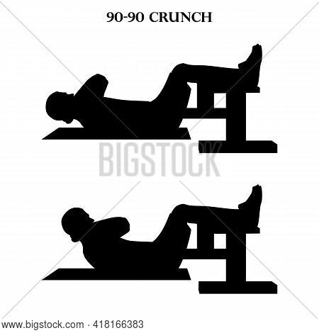 90-90 Crunch Exercise Workout Vector Illustration Silhouette On The White Background. Vector Illustr