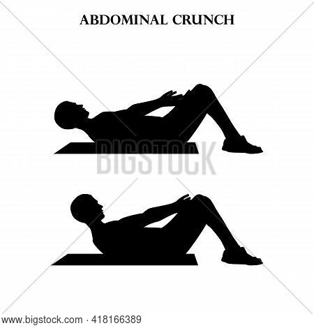 Abdominal Crunch Exercise Workout Vector Illustration Silhouette On The White Background. Vector Ill