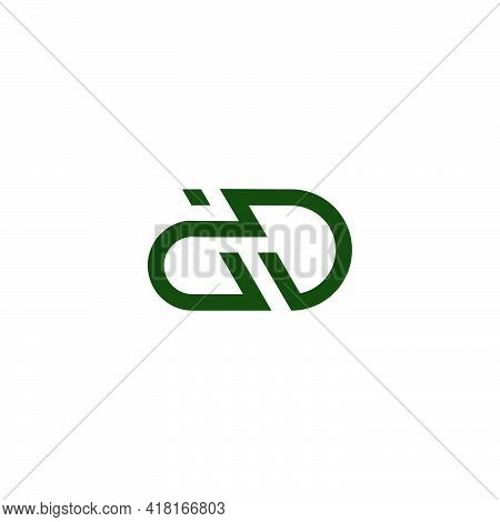 Abstract Letter Dd Simple Geometric Line Flat Logo Vector