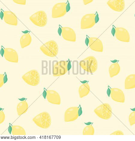 Abstract Lemon Seamless Pattern. Half A Fruit, A Fruit With Leaves. Infinite Texture For Wallpaper,