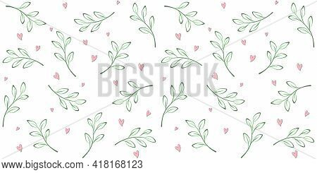 Outline Twigs, Branches With Leaves On A White Background With Small Hearts. Spring Endless Texture.