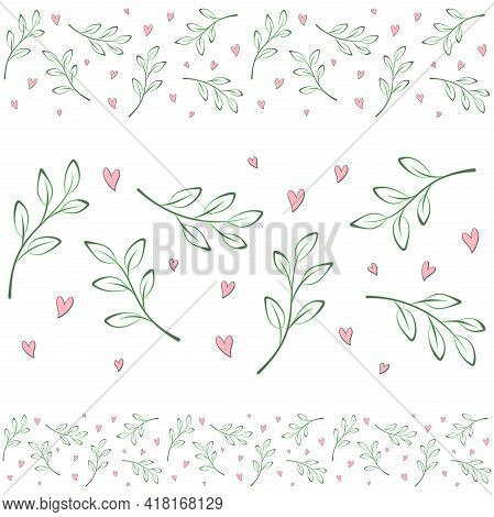 Spring Seamless Border Of Twigs, Branches On A White Background With Small Hearts. Vector Design Tem