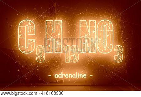 Formula Hormone Adrenaline. Concept Of Medicine And Pharmacy