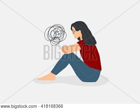 Depressed Alone Woman. Mental Disorder Concept. Vector Sad Unhappy Female. Anxiety Person