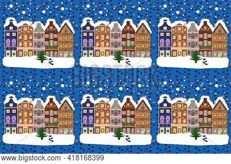 Raster Illustration. Panorama On Blue, Brown And White Colors. For Design Background. A Fairytale Vi