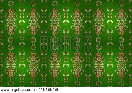 Classic Vintage Background. Seamless Pattern On Brown, Green And Beige Colors With Golden Elements.