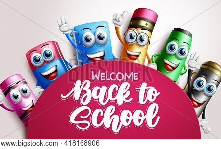 Back To School Characters Vector Template Design. Welcome Back To School Text In Space With Student