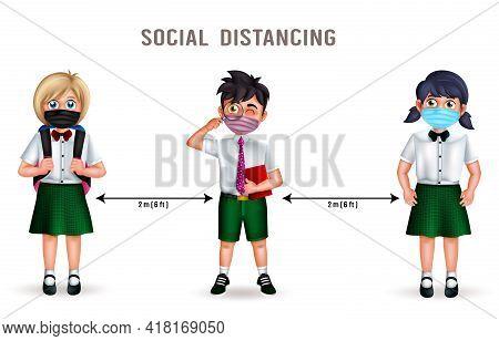 Social Distancing Student Character Vector Design. Social Distancing Text With Student 3d Characters
