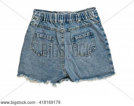 Short Denim Shorts Isolated On A White Background. Summer Denim Clothing.