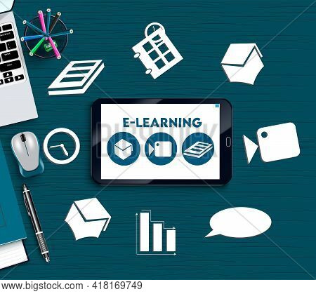 E-learning Education Vector Banner Background. E-learning Text In Smart Phone Mobile App With Digita