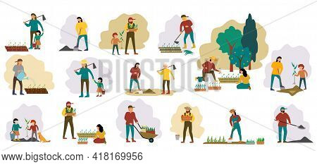 People Gardening Set. Woman Planting Gardens Flowers, Agriculture Gardener Hobby And Garden Job. Gar