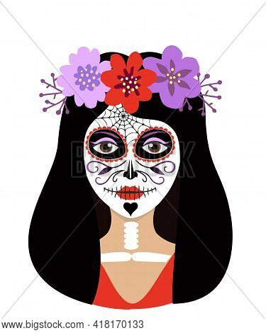 Day Of The Dead Girl Vector Illustration. Young Woman Sugar Head Makeup For Mexican Party On Dia De