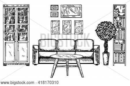 Linear Sketch Of An Interior. Hand Drawn Vector Illustration Of A Sketch Style. Contemporary Modern