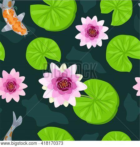 Koi Fish Seamless Pattern. Botanical Seamless Pattern, Lotus Flowers And Goldfish Vintage Style. Sea