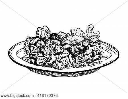 Salad. Bowl Of Greek Salad. Lettuce, Cherry Tomatoes, Cucumbers, Peppers. Bowl Food. Vector Hand Dra