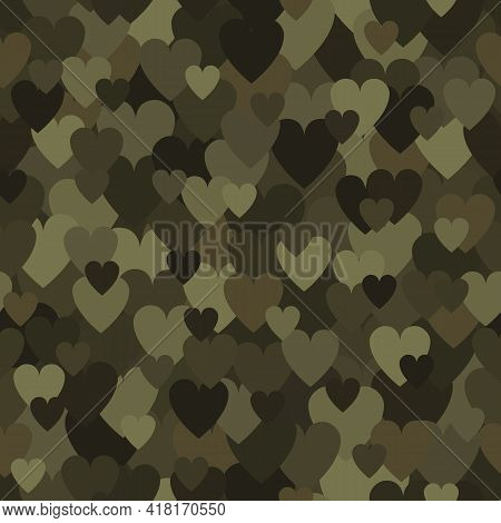 Military Seamless Pattern With Khaki Heart Spots. Camouflage Background
