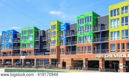 EAST LANSING, MI -22 AUGUST 2020- Colorful lofts at the the outfield of the Cooley Law School baseball field in Lansing, Michigan