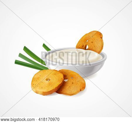Realistic Composition With Green Onion And Bowl Of Sour Cream As Flavoring Additives For Snacks Vect