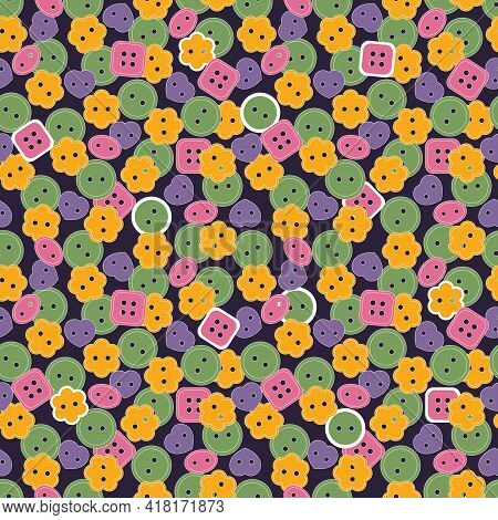 Seamless Pattern. Sewing Button Or Shirt Fastener Buttons. Vector Background On Dark For Textile, Wa