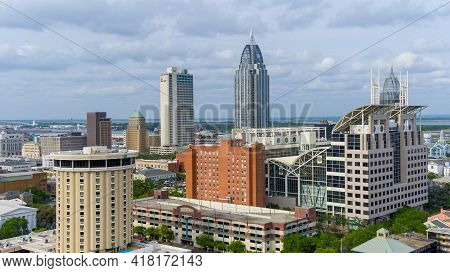 Aerial View Of The Downtown Mobile, Alabama Waterfront Skyline In April Of 2021