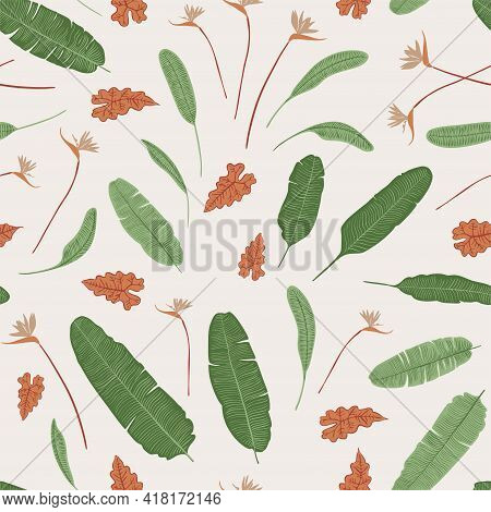 Tropics Leaves Seampless Pattern Vector Modern. Color Beige Green, Trend Ornament