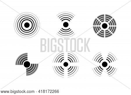 Radar Signal Icons. Sonic Waves. Black And White Military Signs. Detection Technologies Symbols Set.