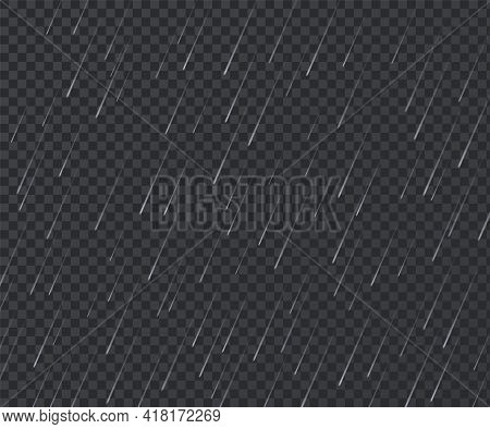 Rain. Realistic Rainy Texture. Falling Water Drops On Transparent Background. Storm With Downpour Mo
