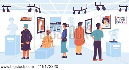 People In Gallery. Visitor Of Modern Art Exhibition And Museum. Tourists Looking At Painting Exposit