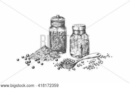Salt And Pepper. Hand Drawn Mills With Seasoning For Restaurant Menu. Isolated Bottles For Pungent T