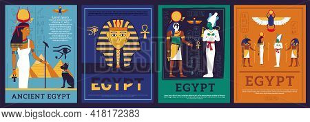 Egypt Posters. Covers With Egyptian Gods And Goddess. Mythological Religious Symbols And Hieroglyphi