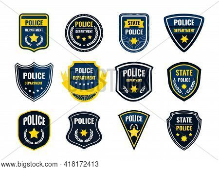 Police Badge. Security Department Shield Symbols. Federal Government Authority Banners Set. Sheriff