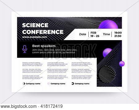 Online Conference Invitation. Webinar Banner, Scientific Event Web Announcement. Digital Training Or