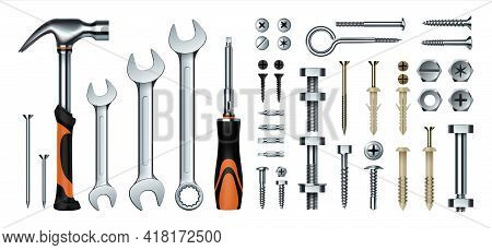 Realistic Mechanic Tools. 3d Construction Instrument Set. Metal Wrench And Hummer, Isolated Screwdri