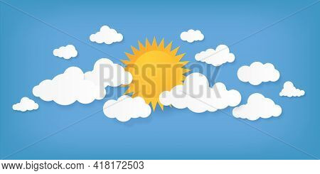 Paper Cut Clouds. Origami Cloudscape. Sun And Cloudy Shapes On Blue Background. Creative Minimal App