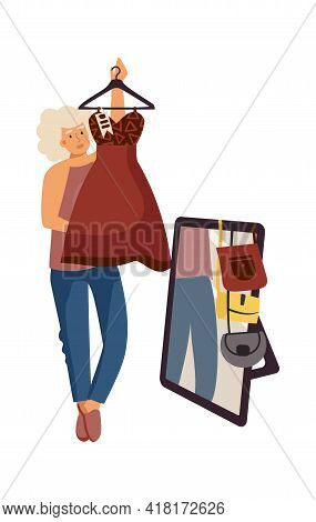 Woman Chooses Dress. Clothing Store. Shopping Concept. Female Trying On Apparel And Accessories In F