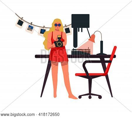 Woman With Camera Work At Home. Photographer Developing Films. Young Female Character Shooting Photo