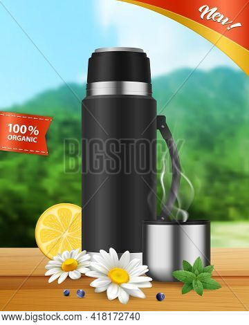 Black Realistic Insulated Vacuum Flask With Hot Organic Beverage In Stainless Lid Cup Landscape Back
