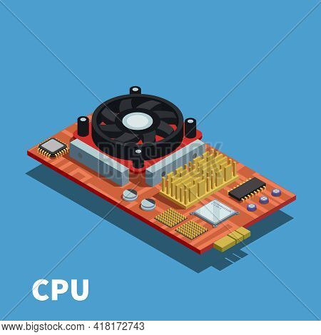 Semiconductor Isometric Poster Demonstrated Printed Circuit Board With Central Processing Unit And C