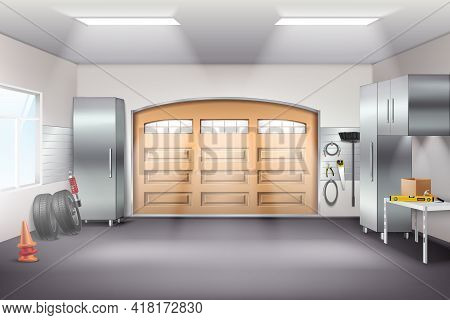 Modern Spacious Garage Interior Realistic Composition With Tool Storage Cabinets Pegboard Workbench