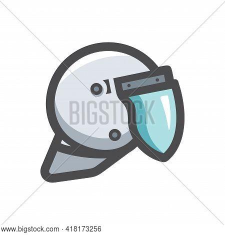 Police Helmet Symbol Vector Icon Cartoon Illustration