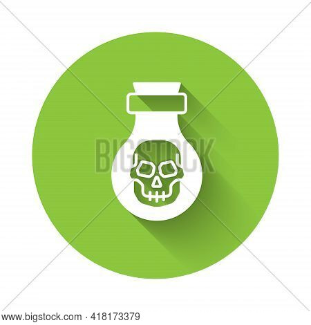 White Poison In Bottle Icon Isolated With Long Shadow. Bottle Of Poison Or Poisonous Chemical Toxin.