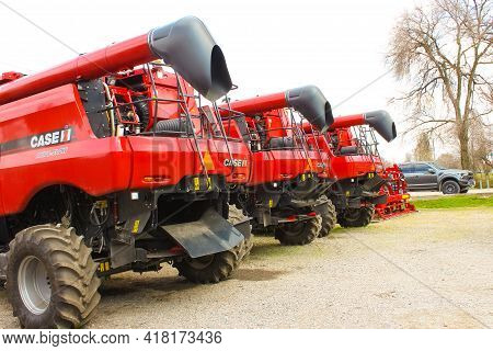 Kyiv, Ukraine - June 16, 2020: Modern Axial-flow 7140 By Case Ih Combine At Road At Kyiv, Ukraine On