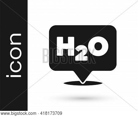 Black Chemical Formula For Water Drops H2o Shaped Icon Isolated On White Background. Vector