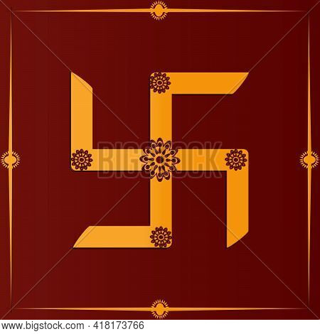 Auspicious Golden Swastik, A Symbol Of Hinduism On Red Background.
