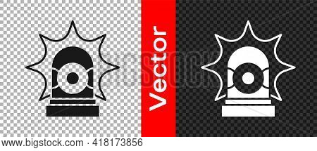 Black Flasher Siren Icon Isolated On Transparent Background. Emergency Flashing Siren. Vector